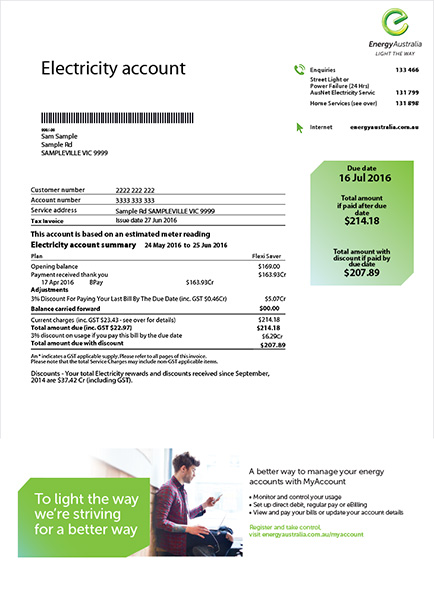 Read your EnergyAustralia Bill